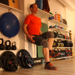 Wall sit ski fitness exercise