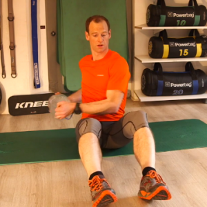 Ski fitness exercise - Russian twists